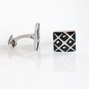 Black and Silver Square Cufflinks with Crystals